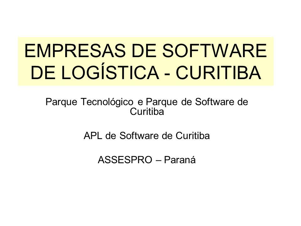 EMPRESAS DE SOFTWARE DE LOGÍSTICA - CURITIBA Parque Tecnológico e Parque de Software de Curitiba APL de Software de Curitiba ASSESPRO – Paraná