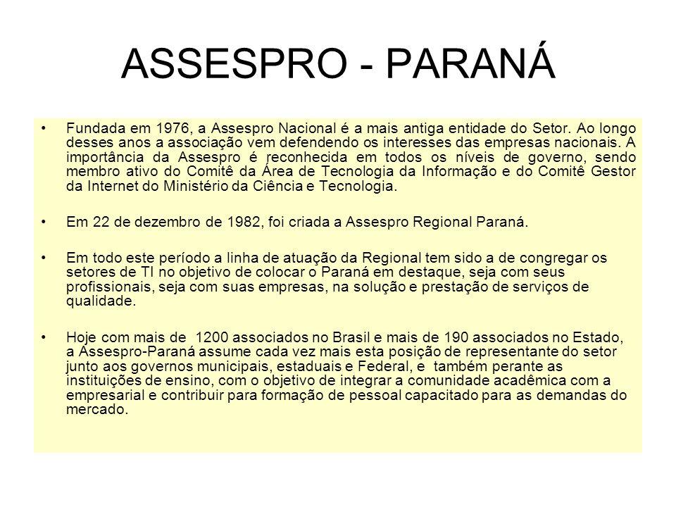 ASSESPRO - PARANÁ Fundada em 1976, a Assespro Nacional é a mais antiga entidade do Setor.