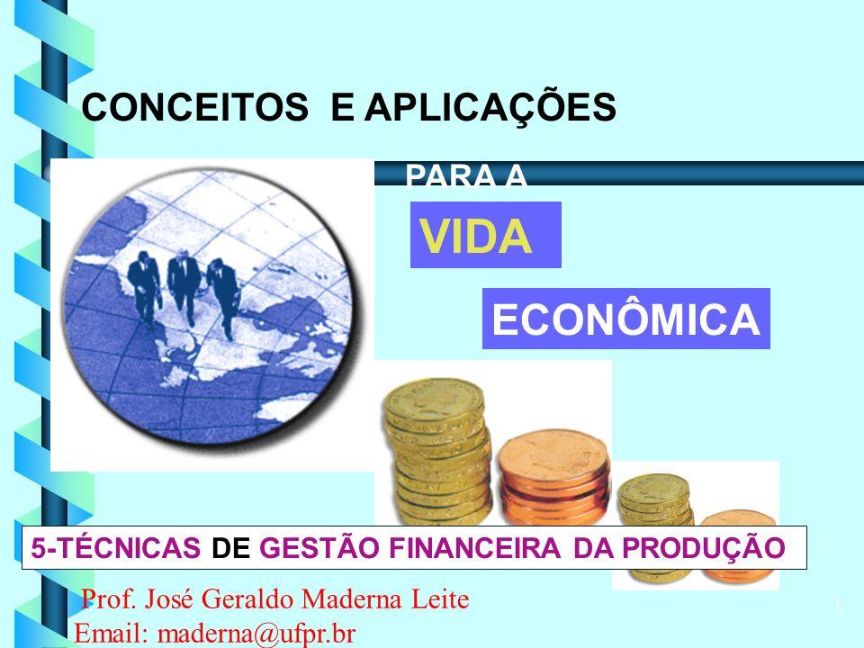 1 CONCEITOS E APLICAÇÕES PARA A VIDA ECONÔMICA 5-TÉCNICAS DE GESTÃO FINANCEIRA DA PRODUÇÃO Prof.