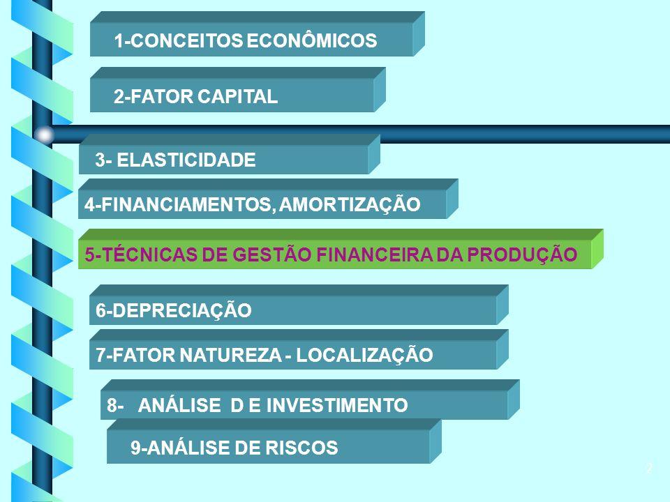 2 1-CONCEITOS ECONÔMICOS 2-FATOR CAPITAL 3- ELASTICIDADE 4-FINANCIAMENTOS, AMORTIZAÇÃO 5-TÉCNICAS DE GESTÃO FINANCEIRA DA PRODUÇÃO 6-DEPRECIAÇÃO 7-FATOR NATUREZA - LOCALIZAÇÃO 8- ANÁLISE D E INVESTIMENTO 9-ANÁLISE DE RISCOS