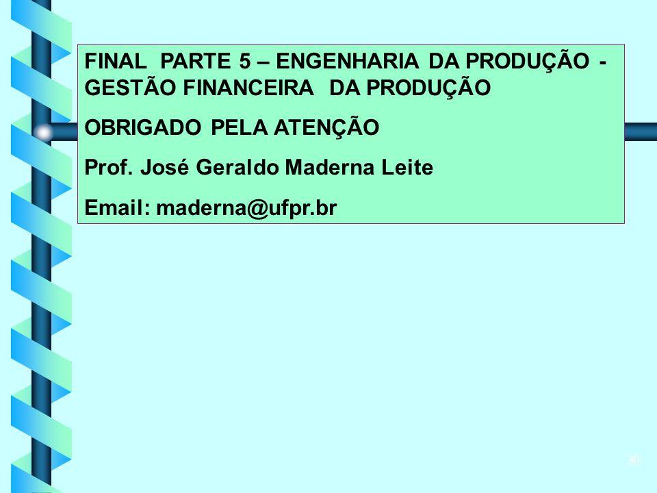 30 FINAL PARTE 5 – ENGENHARIA DA PRODUÇÃO - GESTÃO FINANCEIRA DA PRODUÇÃO OBRIGADO PELA ATENÇÃO Prof.
