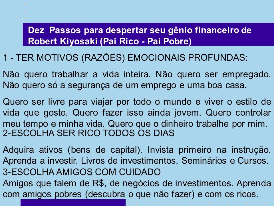 14 Dez Passos para despertar seu gênio financeiro de Robert Kiyosaki (Pai Rico - Pai Pobre) 1 - TER MOTIVOS (RAZÕES) EMOCIONAIS PROFUNDAS: Não quero t