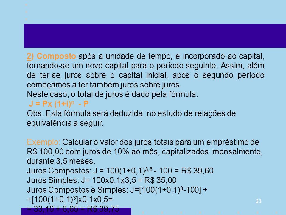 21 2) Composto:após a unidade de tempo, é incorporado ao capital, tornando-se um novo capital para o período seguinte. Assim, além de ter-se juros sob
