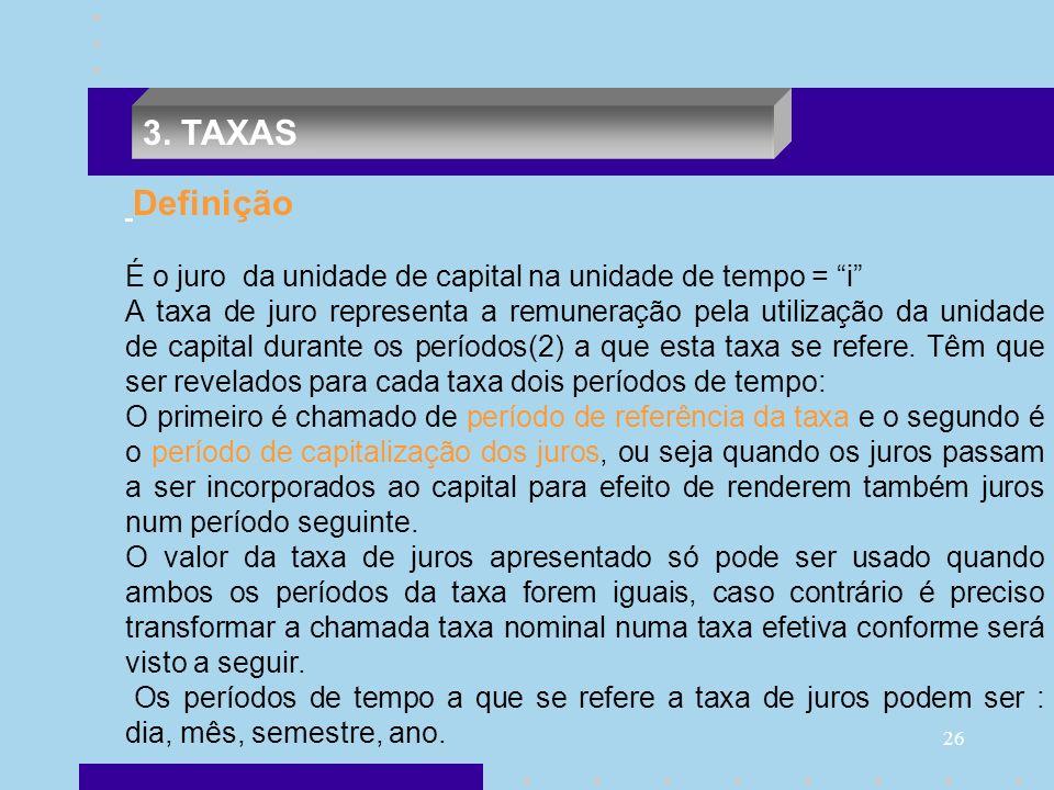 26 Definição É o juro da unidade de capital na unidade de tempo = i A taxa de juro representa a remuneração pela utilização da unidade de capital dura