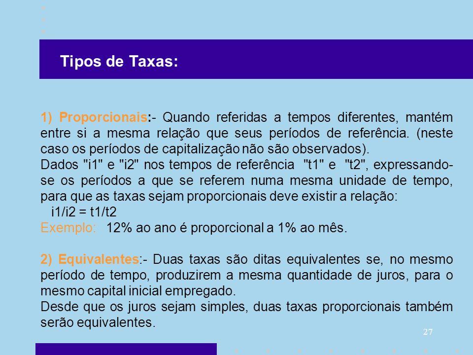27 1) Proporcionais:- Quando referidas a tempos diferentes, mantém entre si a mesma relação que seus períodos de referência. (neste caso os períodos d