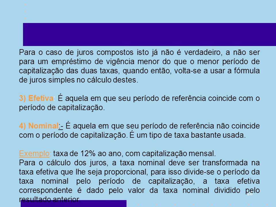 28 Para o caso de juros compostos isto já não é verdadeiro, a não ser para um empréstimo de vigência menor do que o menor período de capitalização das