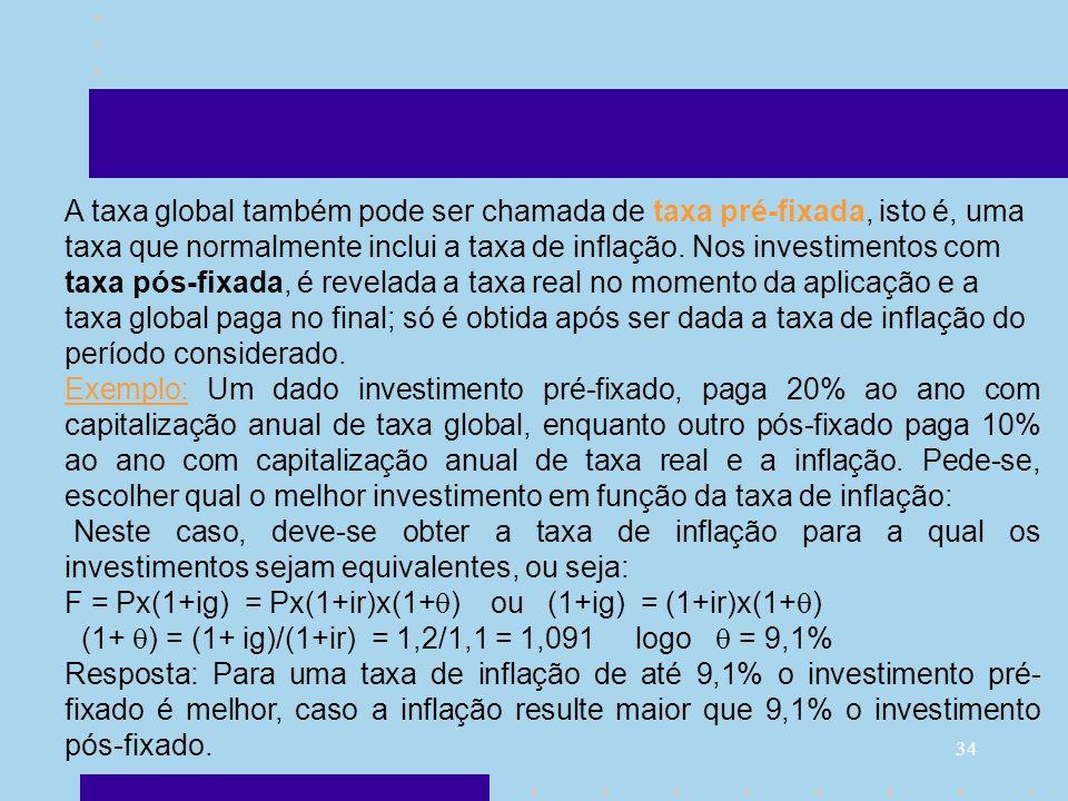 34 A taxa global também pode ser chamada de taxa pré-fixada, isto é, uma taxa que normalmente inclui a taxa de inflação. Nos investimentos com taxa pó