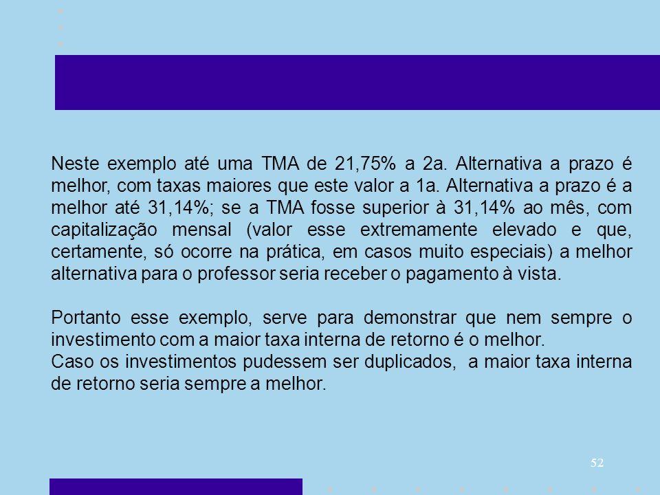 52 Neste exemplo até uma TMA de 21,75% a 2a. Alternativa a prazo é melhor, com taxas maiores que este valor a 1a. Alternativa a prazo é a melhor até 3
