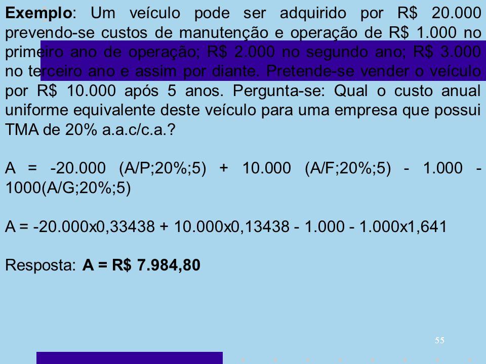 55 Exemplo: Um veículo pode ser adquirido por R$ 20.000 prevendo-se custos de manutenção e operação de R$ 1.000 no primeiro ano de operação; R$ 2.000