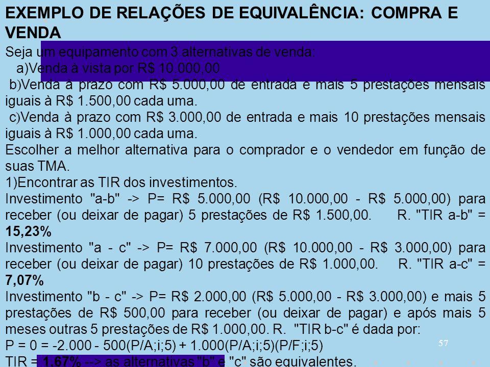 57 Seja um equipamento com 3 alternativas de venda: a)Venda à vista por R$ 10.000,00 b ) Venda à prazo com R$ 5.000,00 de entrada e mais 5 prestações