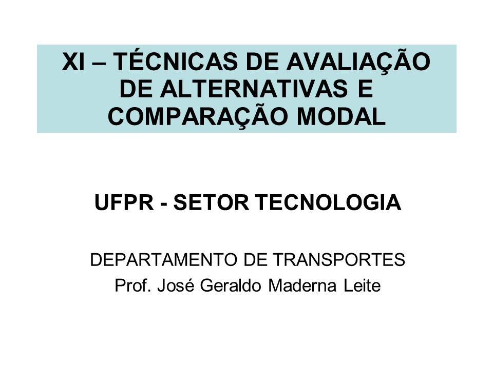XI – TÉCNICAS DE AVALIAÇÃO DE ALTERNATIVAS E COMPARAÇÃO MODAL UFPR - SETOR TECNOLOGIA DEPARTAMENTO DE TRANSPORTES Prof. José Geraldo Maderna Leite