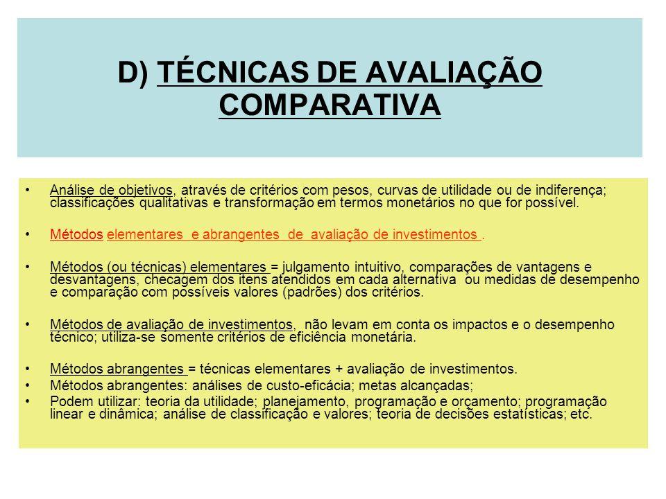D) TÉCNICAS DE AVALIAÇÃO COMPARATIVA Análise de objetivos, através de critérios com pesos, curvas de utilidade ou de indiferença; classificações quali