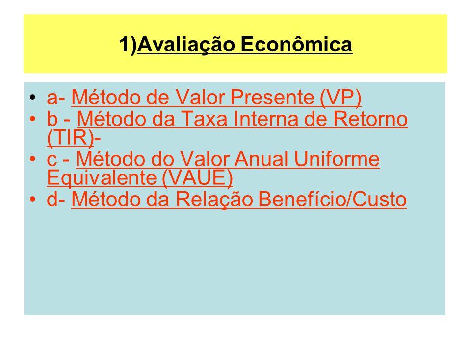 1)Avaliação Econômica a- Método de Valor Presente (VP) b - Método da Taxa Interna de Retorno (TIR)- c - Método do Valor Anual Uniforme Equivalente (VA