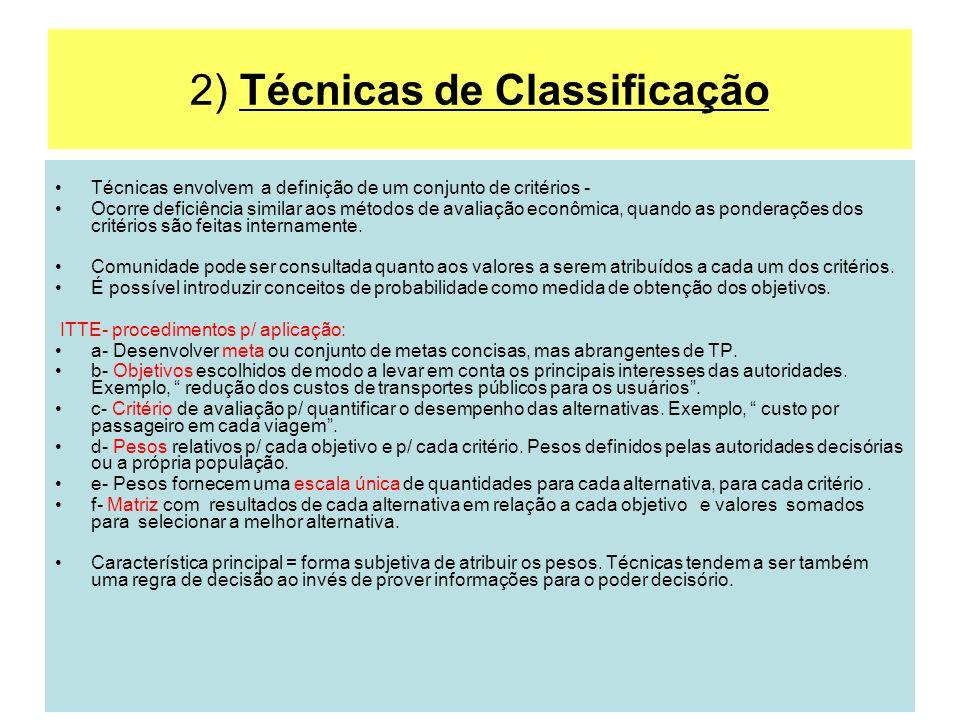 2) Técnicas de Classificação Técnicas envolvem a definição de um conjunto de critérios - Ocorre deficiência similar aos métodos de avaliação econômica