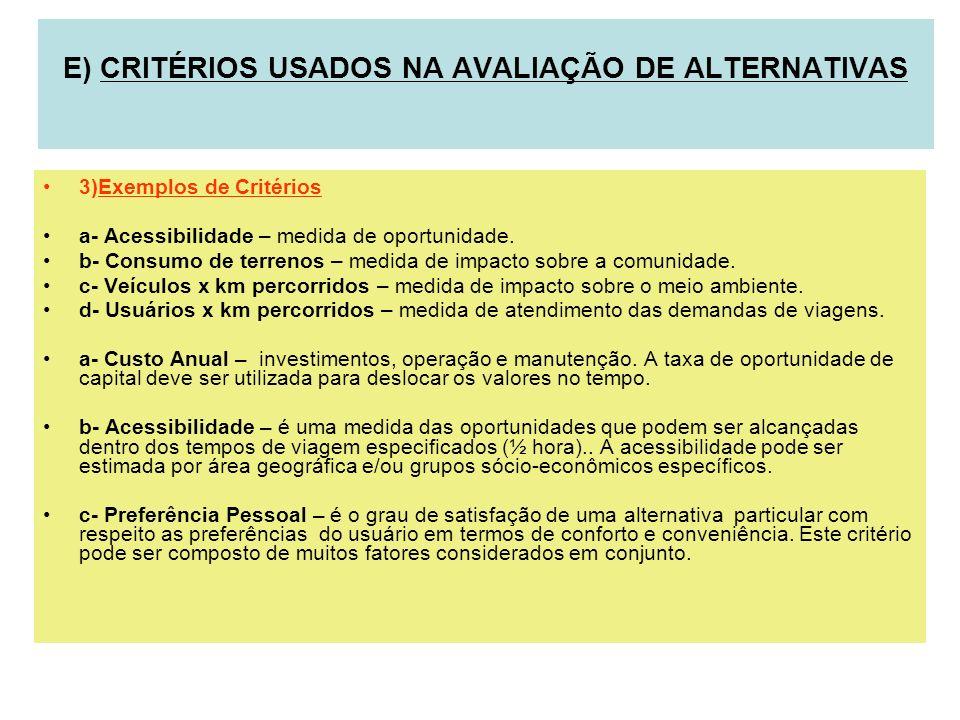 3)Exemplos de Critérios a- Acessibilidade – medida de oportunidade. b- Consumo de terrenos – medida de impacto sobre a comunidade. c- Veículos x km pe