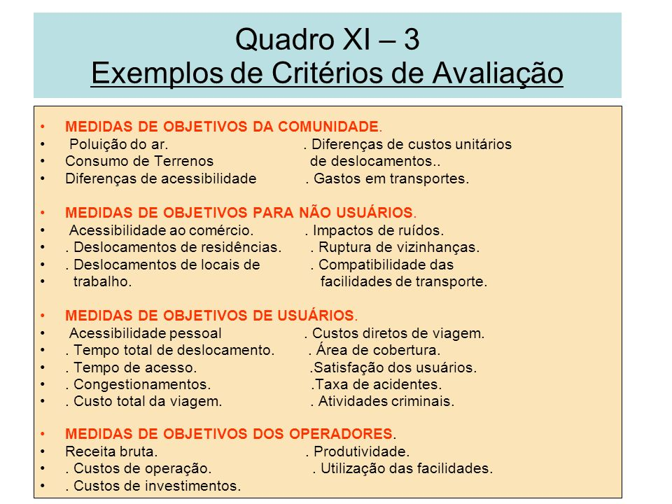 Quadro XI – 3 Exemplos de Critérios de Avaliação MEDIDAS DE OBJETIVOS DA COMUNIDADE. Poluição do ar.. Diferenças de custos unitários Consumo de Terren