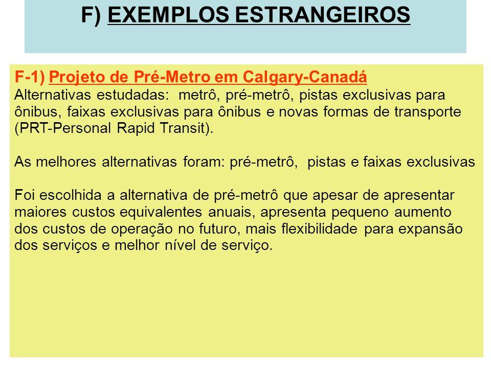 F) EXEMPLOS ESTRANGEIROS F-1) Projeto de Pré-Metro em Calgary-Canadá Alternativas estudadas: metrô, pré-metrô, pistas exclusivas para ônibus, faixas e