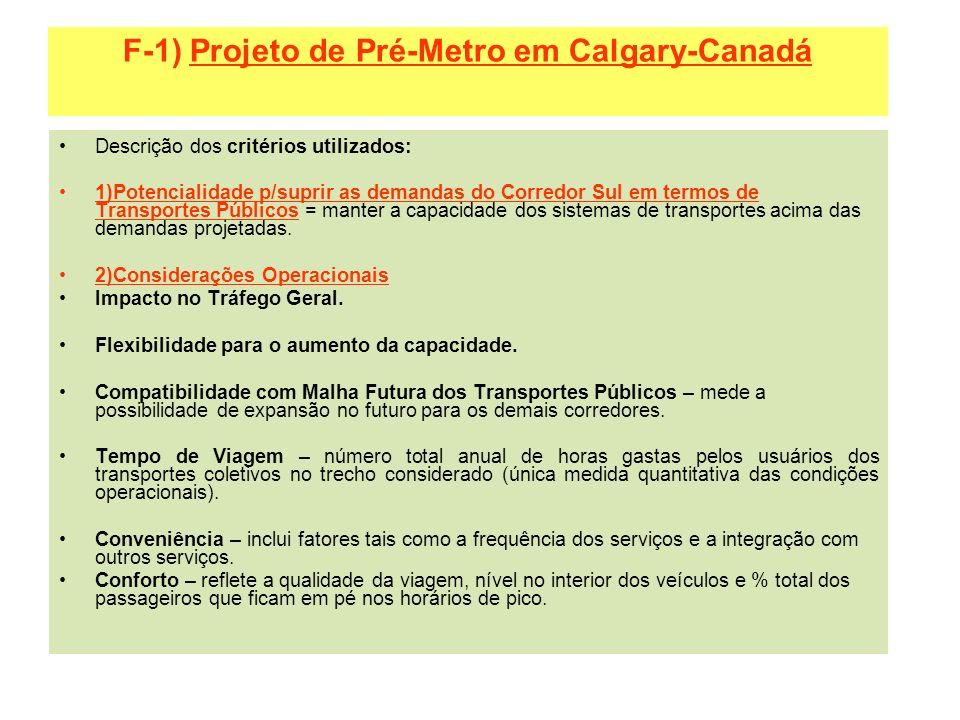 F-1) Projeto de Pré-Metro em Calgary-Canadá Descrição dos critérios utilizados: 1)Potencialidade p/suprir as demandas do Corredor Sul em termos de Tra