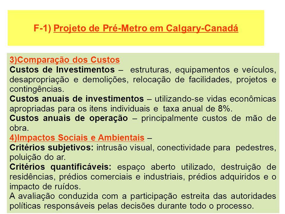 F-1) Projeto de Pré-Metro em Calgary-Canadá 3)Comparação dos Custos Custos de Investimentos – estruturas, equipamentos e veículos, desapropriação e de