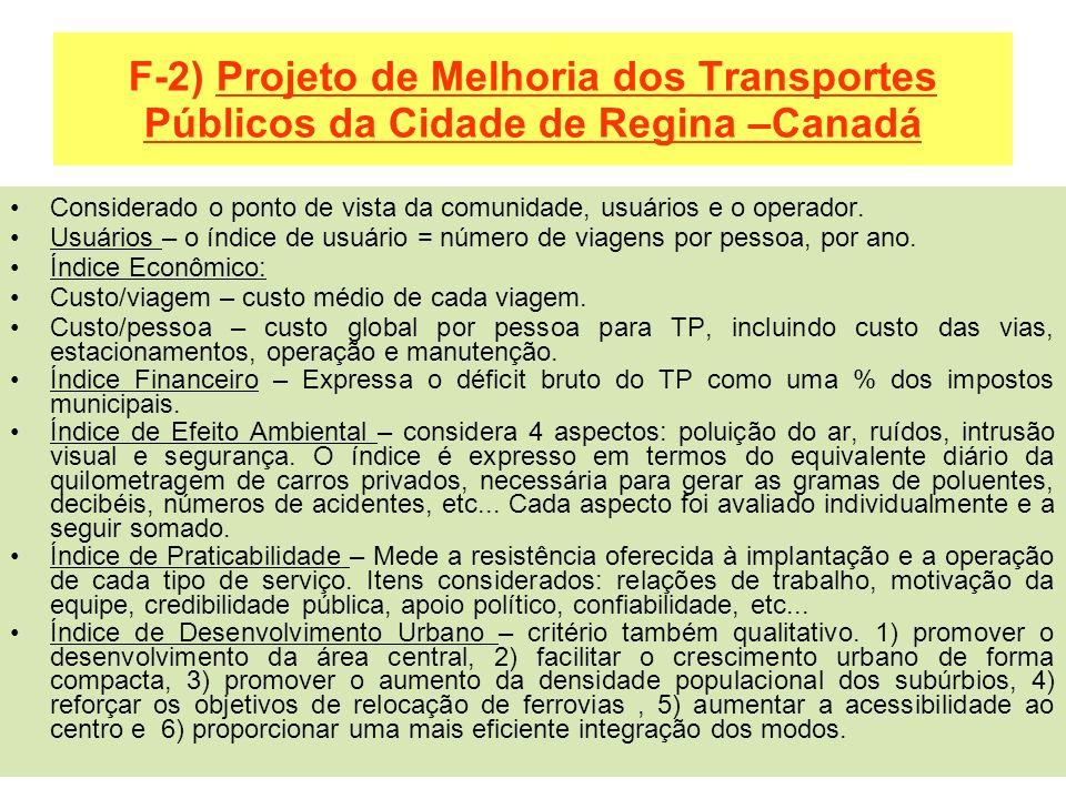 F-2) Projeto de Melhoria dos Transportes Públicos da Cidade de Regina –Canadá Considerado o ponto de vista da comunidade, usuários e o operador. Usuár