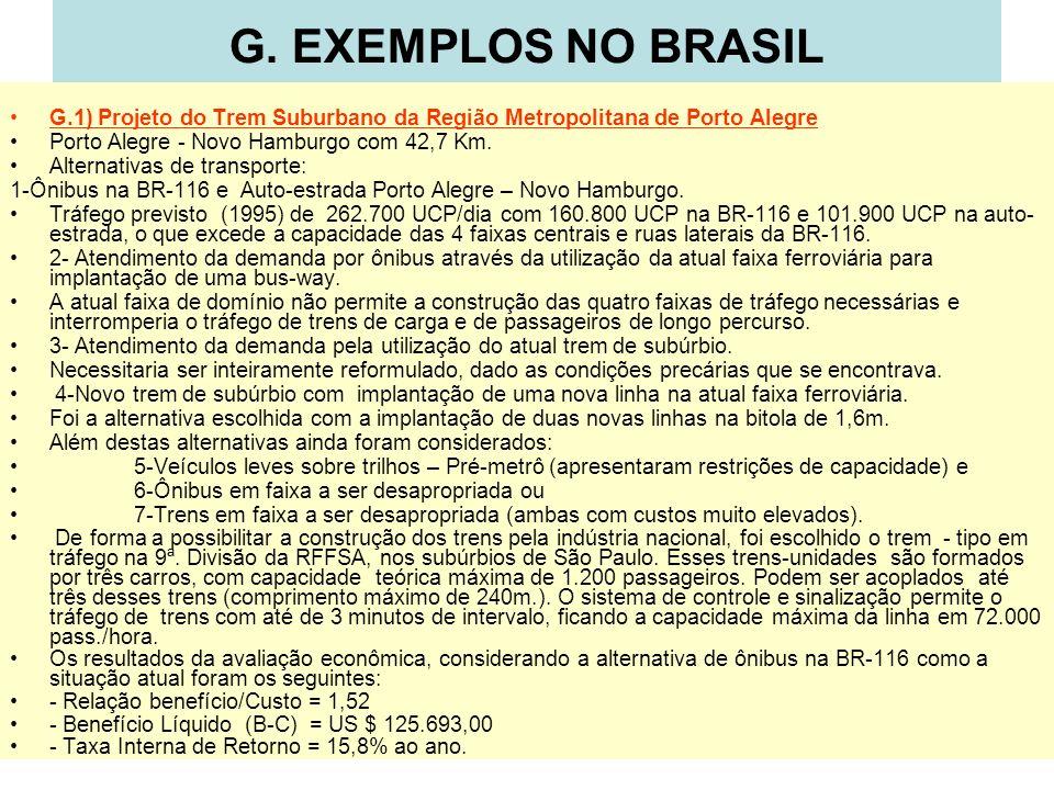 G. EXEMPLOS NO BRASIL G.1) Projeto do Trem Suburbano da Região Metropolitana de Porto Alegre Porto Alegre - Novo Hamburgo com 42,7 Km. Alternativas de