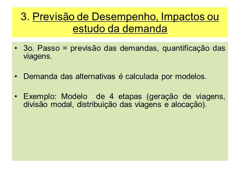 3. Previsão de Desempenho, Impactos ou estudo da demanda 3o. Passo = previsão das demandas, quantificação das viagens. Demanda das alternativas é calc