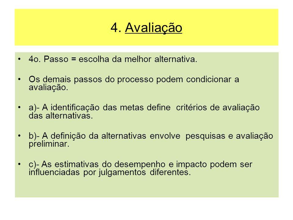 4. Avaliação 4o. Passo = escolha da melhor alternativa. Os demais passos do processo podem condicionar a avaliação. a)- A identificação das metas defi