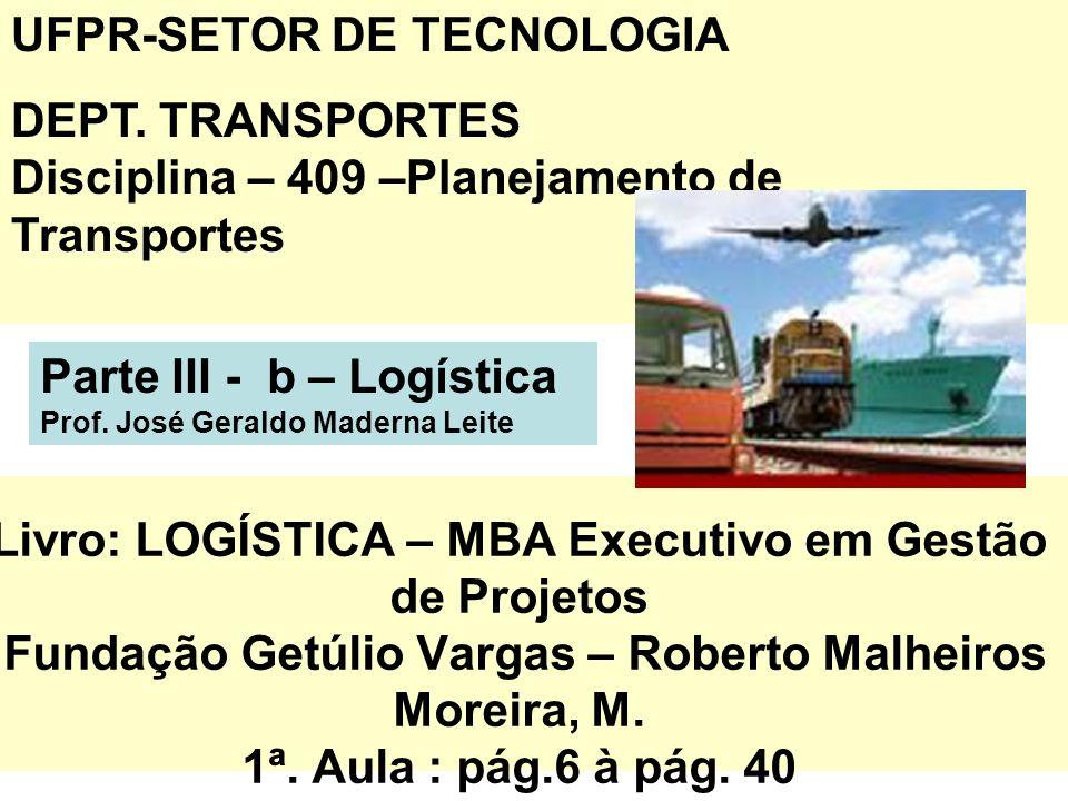 1 Livro: LOGÍSTICA – MBA Executivo em Gestão de Projetos Fundação Getúlio Vargas – Roberto Malheiros Moreira, M. 1ª. Aula : pág.6 à pág. 40 UFPR-SETOR