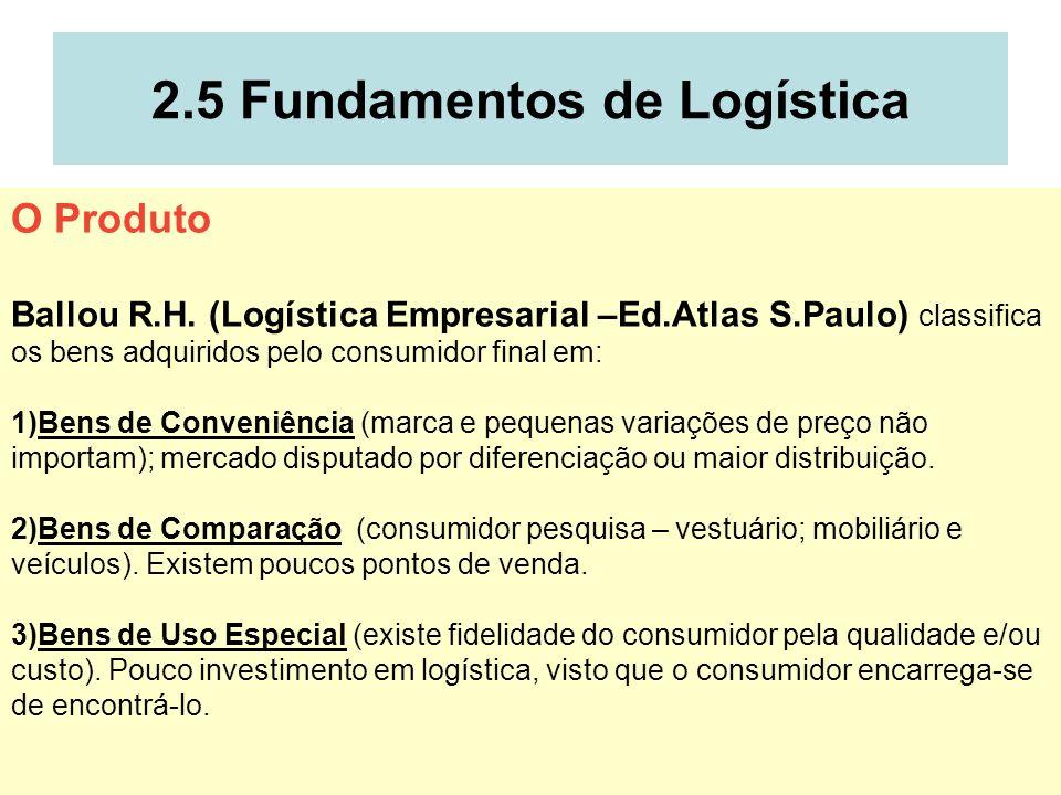 14 2.5 Fundamentos de Logística O Produto Ballou R.H. (Logística Empresarial –Ed.Atlas S.Paulo) classifica os bens adquiridos pelo consumidor final em