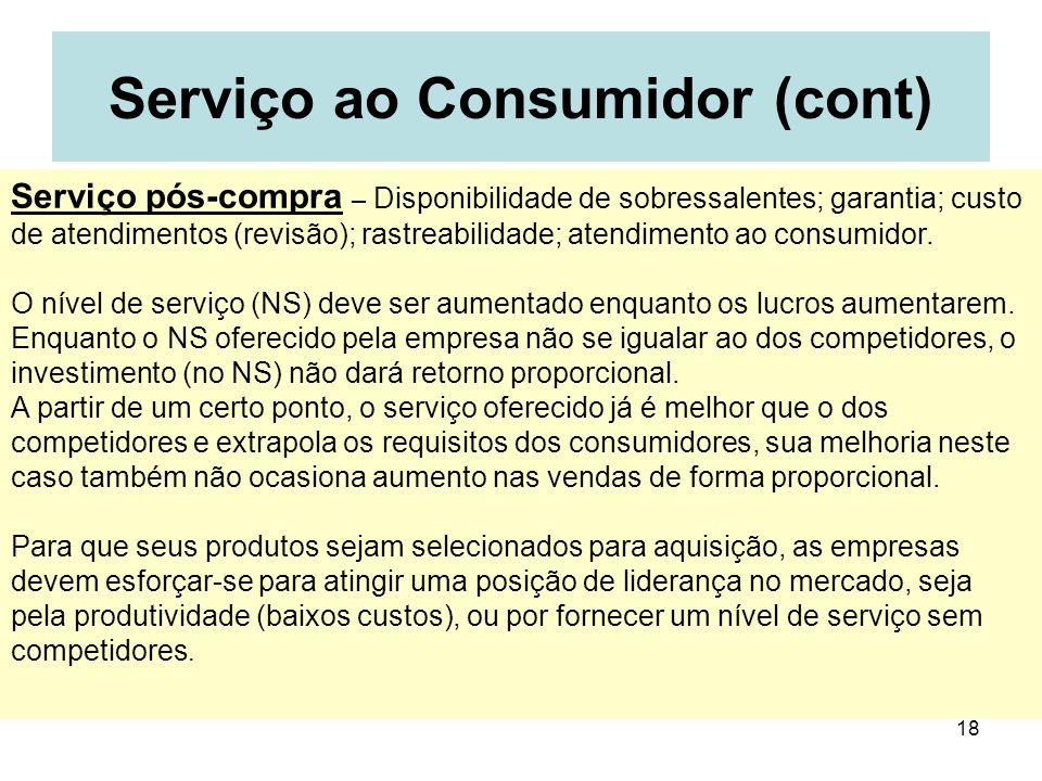 18 Serviço ao Consumidor (cont) Serviço pós-compra – Disponibilidade de sobressalentes; garantia; custo de atendimentos (revisão); rastreabilidade; at