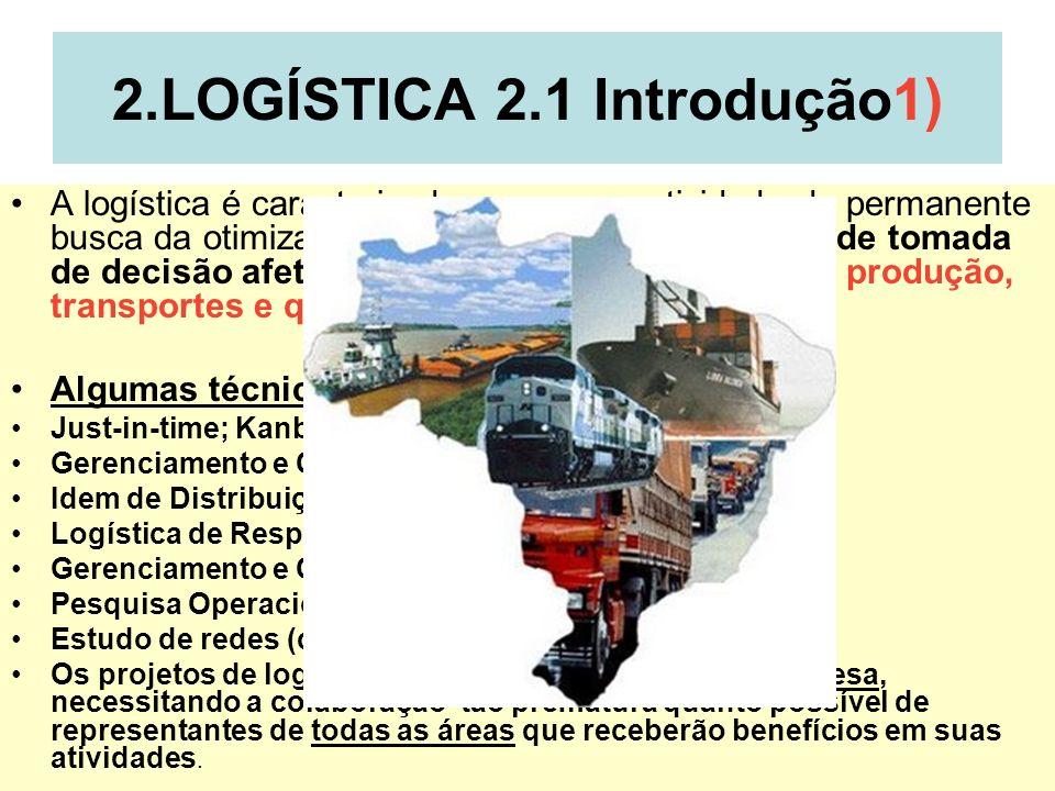 2 2.LOGÍSTICA 2.1 Introdução1) A logística é caracterizada como uma atividade de permanente busca da otimização para conduzir os processos de tomada d