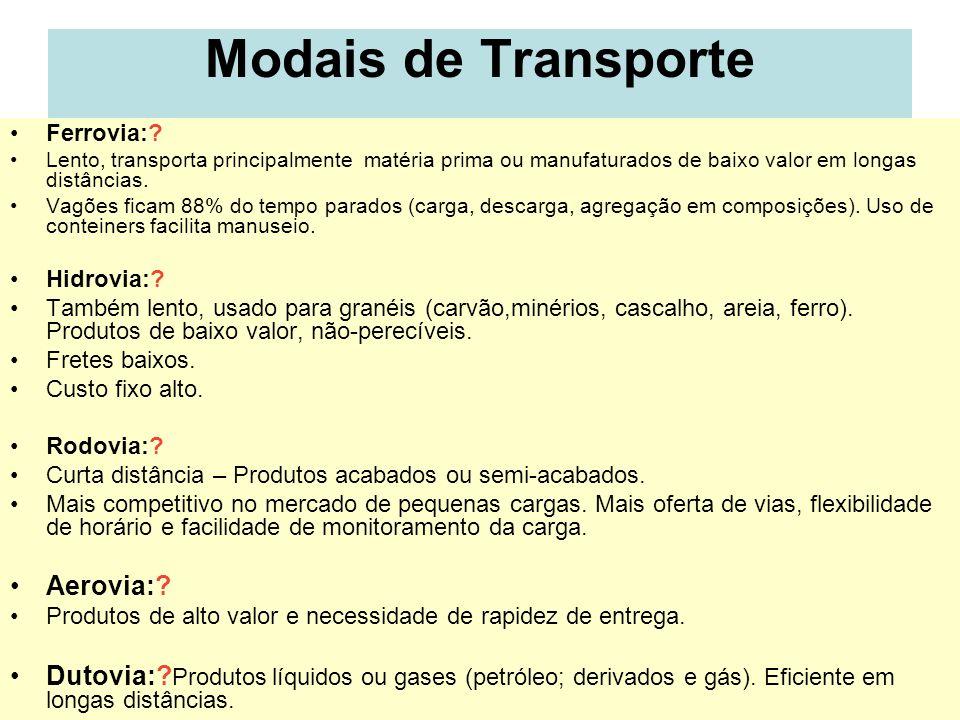 21 Modais de Transporte Ferrovia:? Lento, transporta principalmente matéria prima ou manufaturados de baixo valor em longas distâncias. Vagões ficam 8