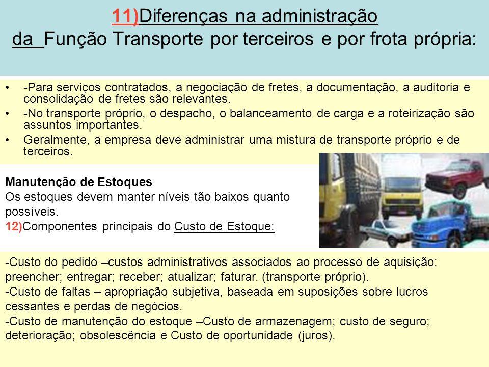 25 11)Diferenças na administração da Função Transporte por terceiros e por frota própria: -Para serviços contratados, a negociação de fretes, a docume