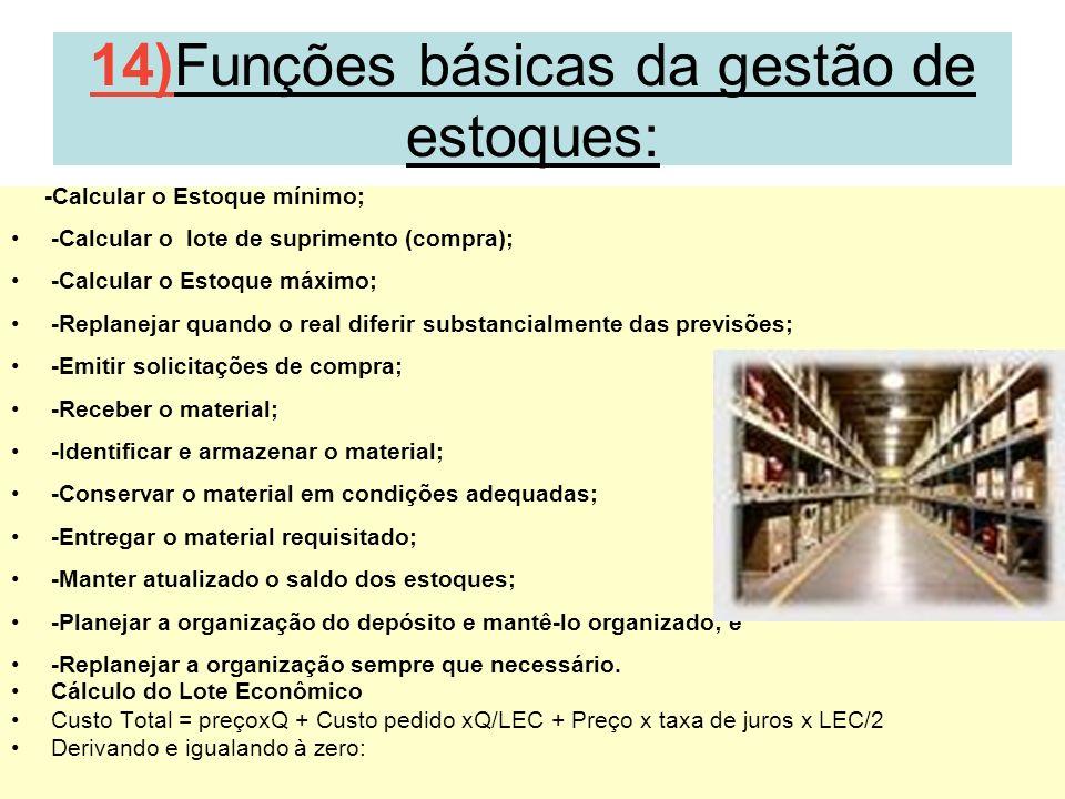 29 14)Funções básicas da gestão de estoques: -Calcular o Estoque mínimo; -Calcular o lote de suprimento (compra); -Calcular o Estoque máximo; -Replane