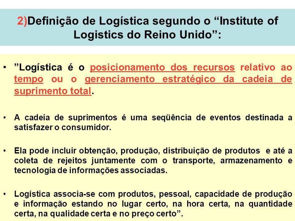 3 2)Definição de Logística segundo o Institute of Logistics do Reino Unido: Logística é o posicionamento dos recursos relativo ao tempo ou o gerenciam