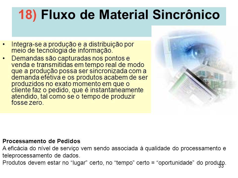 33 18) Fluxo de Material Sincrônico Integra-se a produção e a distribuição por meio de tecnologia de informação. Demandas são capturadas nos pontos e