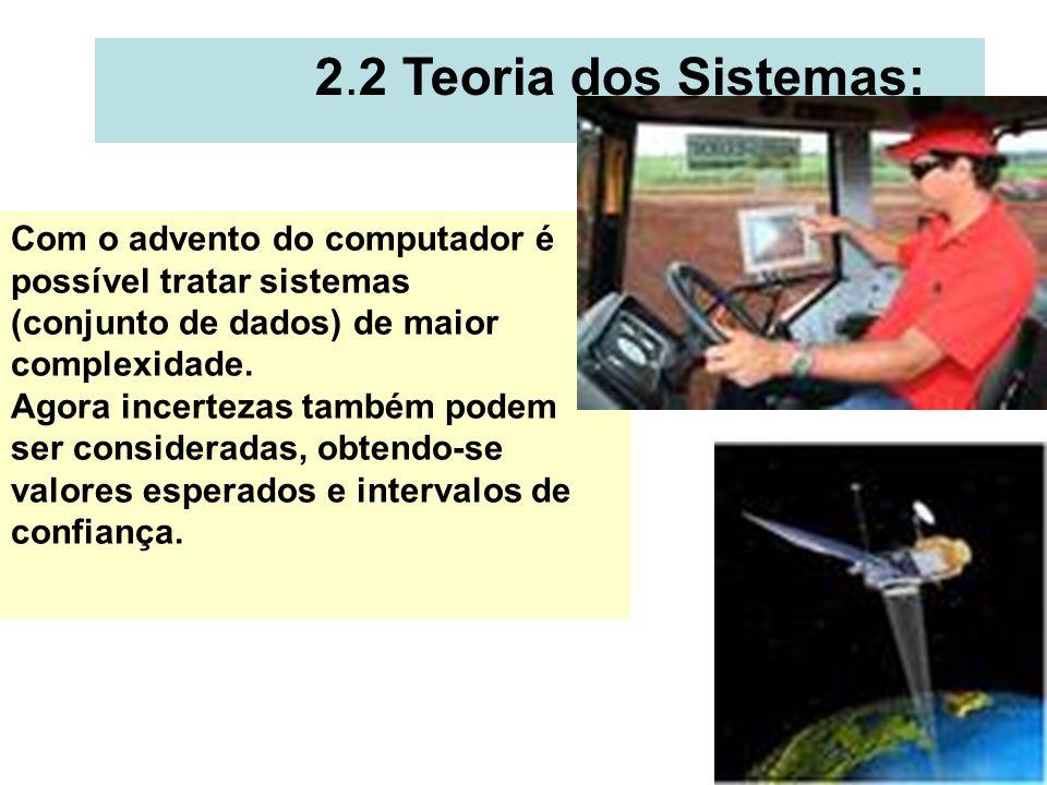 4 2.2 Teoria dos Sistemas: Com o advento do computador é possível tratar sistemas (conjunto de dados) de maior complexidade. Agora incertezas também p