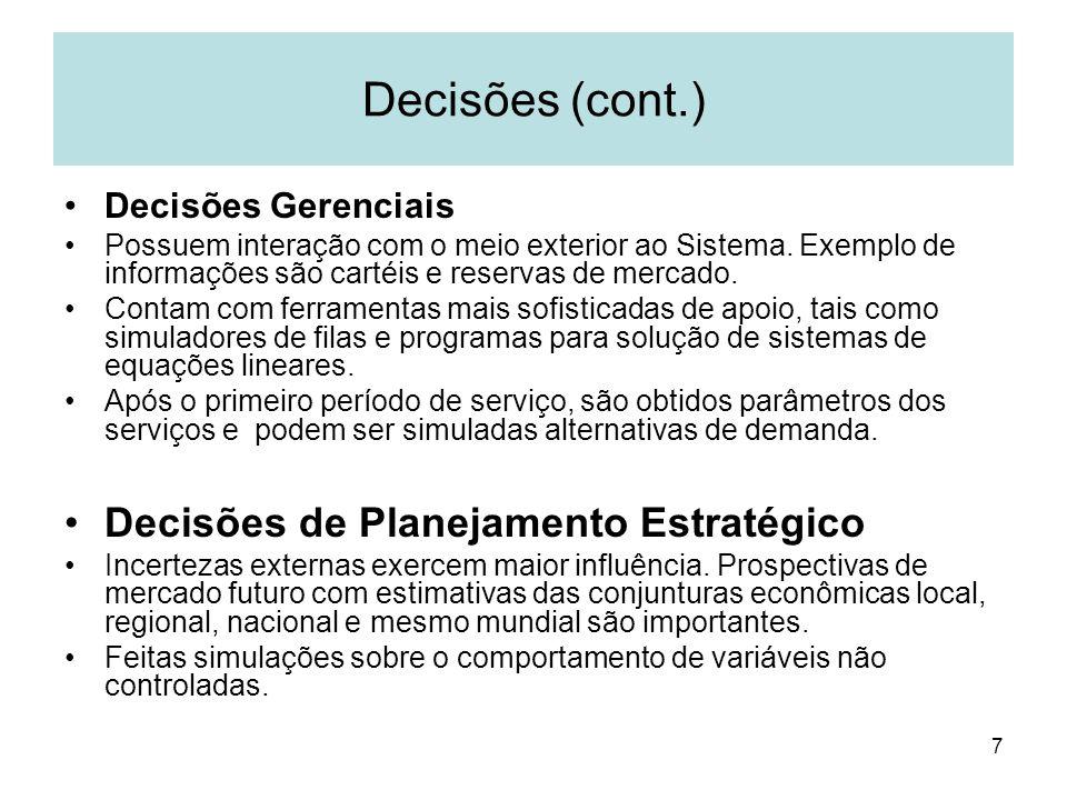 7 Decisões (cont.) Decisões Gerenciais Possuem interação com o meio exterior ao Sistema. Exemplo de informações são cartéis e reservas de mercado. Con
