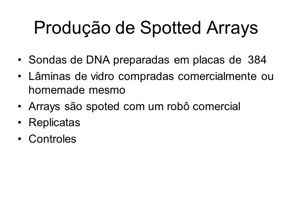 Produção de Spotted Arrays Sondas de DNA preparadas em placas de 384 Lâminas de vidro compradas comercialmente ou homemade mesmo Arrays são spoted com