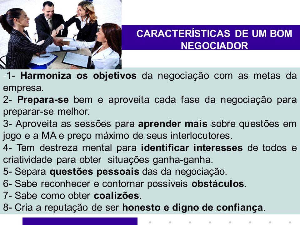 10 CARACTERÍSTICAS DE UM BOM NEGOCIADOR - 1- Harmoniza os objetivos da negociação com as metas da empresa. 2- Prepara-se bem e aproveita cada fase da