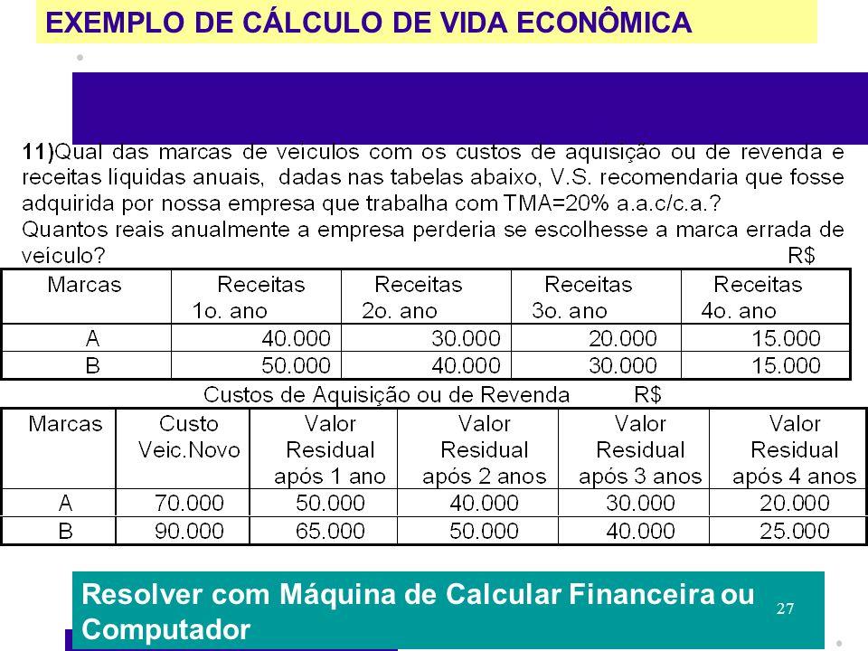 EXEMPLO DE CÁLCULO DE VIDA ECONÔMICA Resolver com Máquina de Calcular Financeira ou Computador 27
