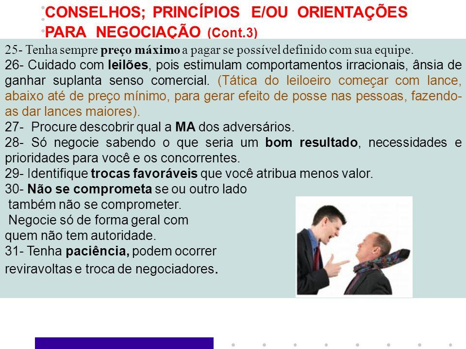 7 CONSELHOS; PRINCÍPIOS E/OU ORIENTAÇÕES PARA NEGOCIAÇÃO (Cont.3) 25- Tenha sempre preço máximo a pagar se possível definido com sua equipe. 26- Cuida