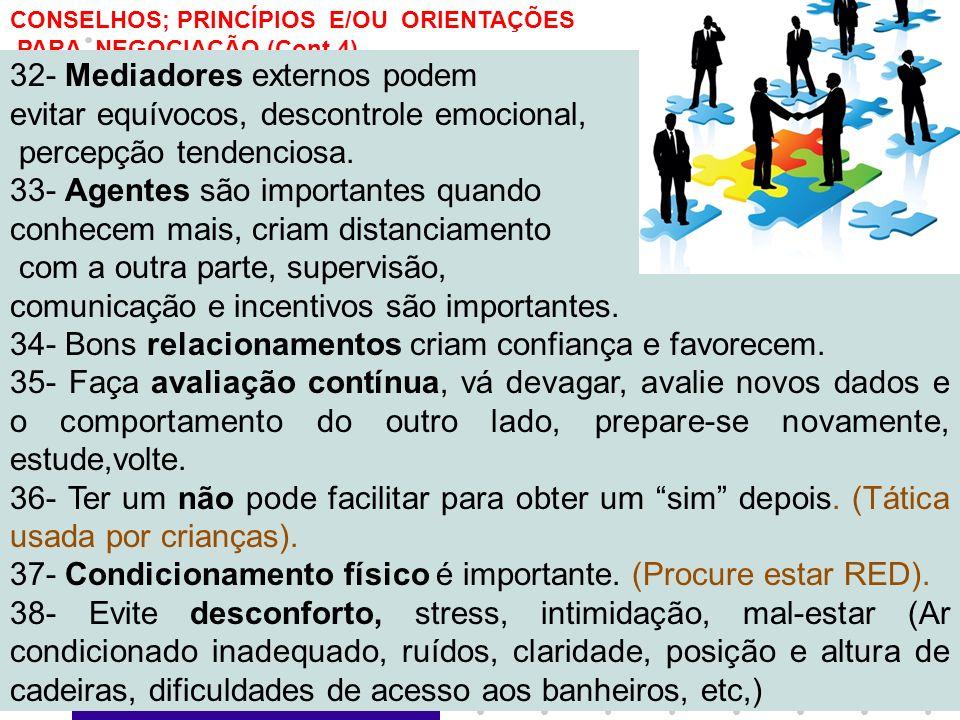 8 CONSELHOS; PRINCÍPIOS E/OU ORIENTAÇÕES PARA NEGOCIAÇÃO (Cont.4) 32- Mediadores externos podem evitar equívocos, descontrole emocional, percepção ten