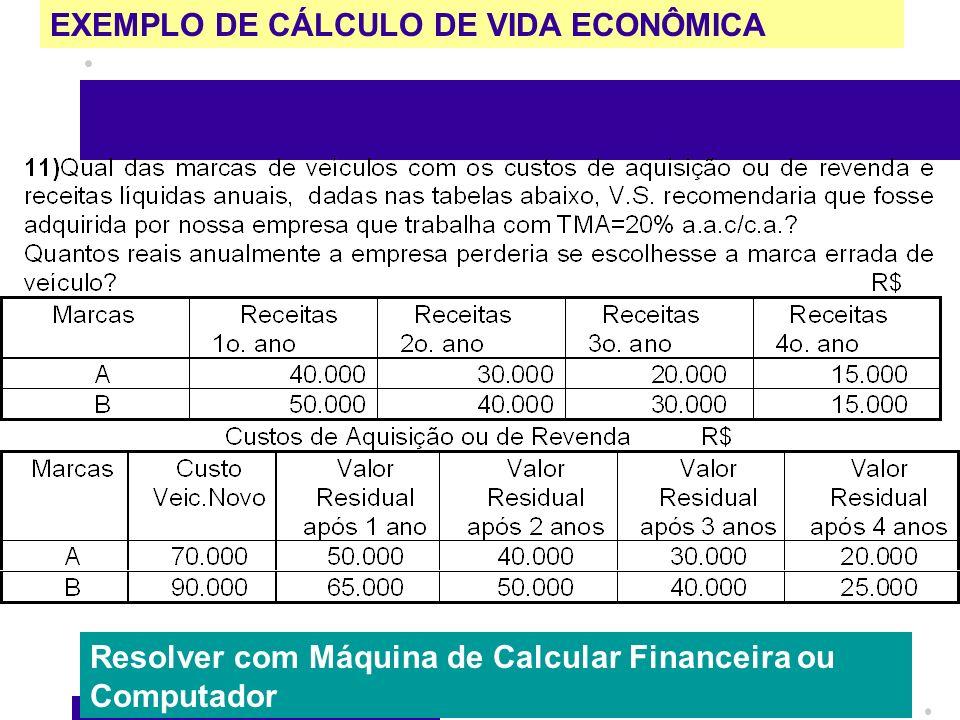 EXEMPLO DE CÁLCULO DE VIDA ECONÔMICA Resolver com Máquina de Calcular Financeira ou Computador