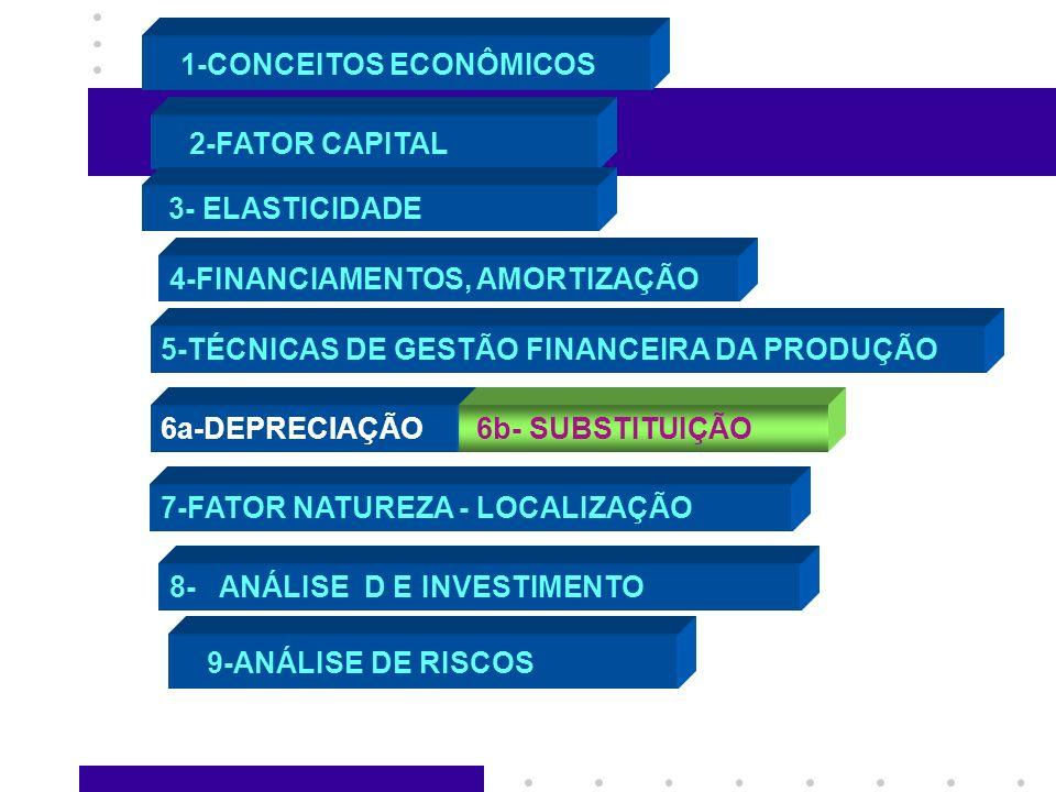 1-CONCEITOS ECONÔMICOS 2-FATOR CAPITAL 3- ELASTICIDADE 4-FINANCIAMENTOS, AMORTIZAÇÃO 5-TÉCNICAS DE GESTÃO FINANCEIRA DA PRODUÇÃO 6a-DEPRECIAÇÃO 7-FATO