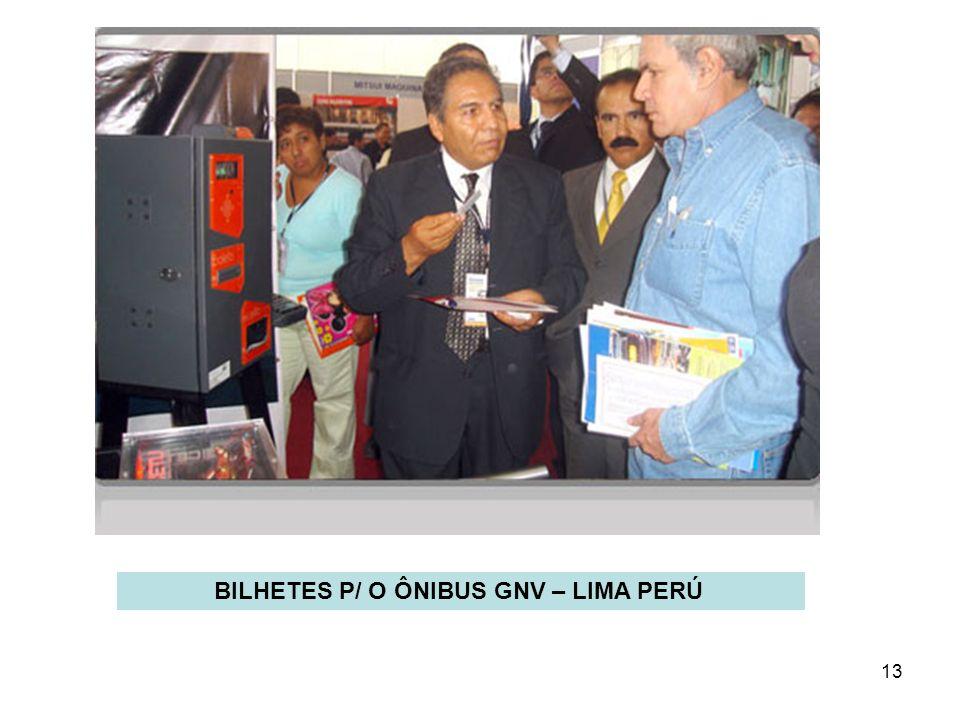 13 BILHETES P/ O ÔNIBUS GNV – LIMA PERÚ