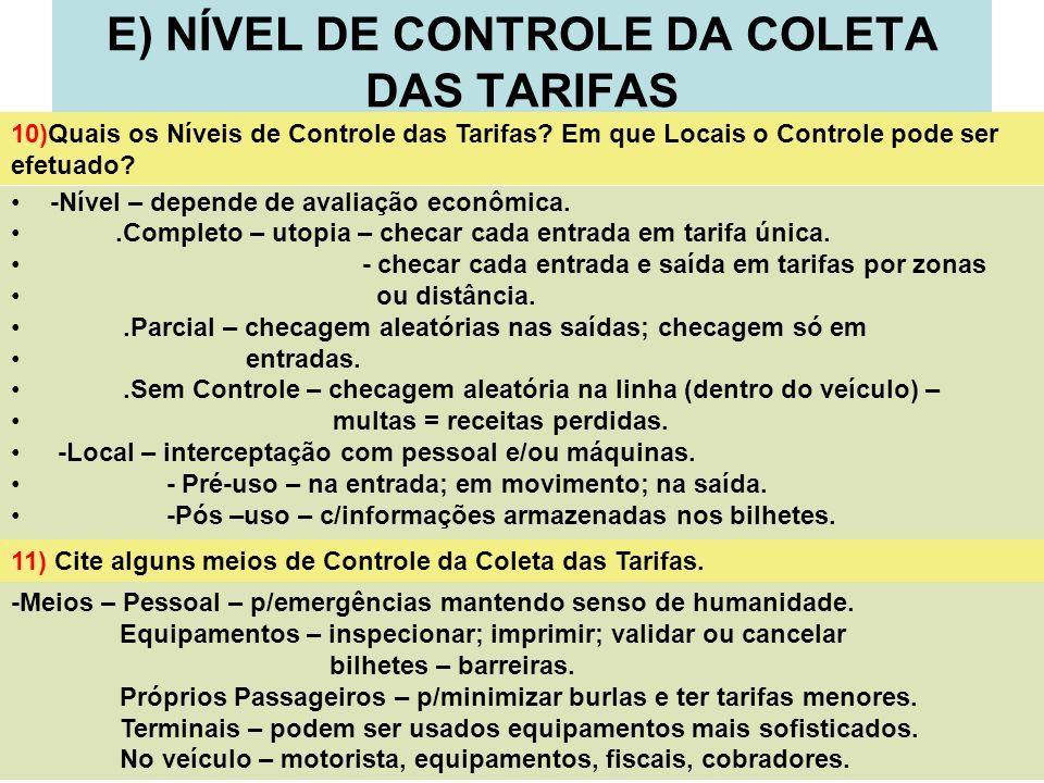 15 E) NÍVEL DE CONTROLE DA COLETA DAS TARIFAS -Nível – depende de avaliação econômica..Completo – utopia – checar cada entrada em tarifa única. - chec
