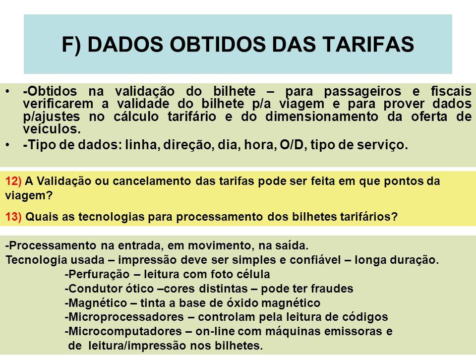 16 F) DADOS OBTIDOS DAS TARIFAS -Obtidos na validação do bilhete – para passageiros e fiscais verificarem a validade do bilhete p/a viagem e para prov