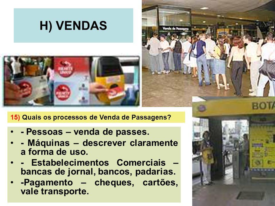 18 H) VENDAS - Pessoas – venda de passes. - Máquinas – descrever claramente a forma de uso. - Estabelecimentos Comerciais – bancas de jornal, bancos,
