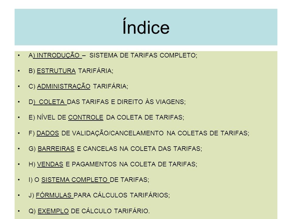 2 Índice A) INTRODUÇÃO – SISTEMA DE TARIFAS COMPLETO; B) ESTRUTURA TARIFÁRIA; C) ADMINISTRAÇÃO TARIFÁRIA; D) COLETA DAS TARIFAS E DIREITO ÀS VIAGENS;